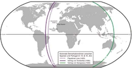 Garis demarkasi antara Spanyol dan Portugis abad ke-15 dan ke-16