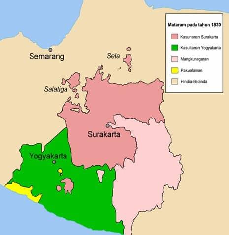 Peta mataram setelah perang Diponegoro