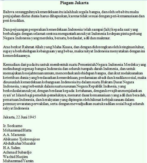 naskah Piagam Jakarta dalam ejaan yang disempurnakan