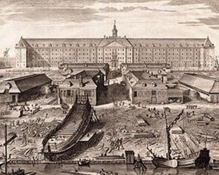 Galangan kapal Perusahaan Hindia Timur Belanda di Amsterdam, sekitar tahun 1750.