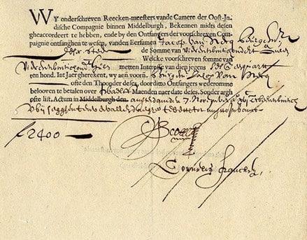 Sebuah saham Perusahaan Hindia Timur Belanda, tertanggal 7 November 1623, untuk jumlah 2.400 florin