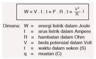 besar usaha W yang sama dengan energi listrik