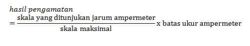 hasil pengamatan pada pembacaan ampermeter