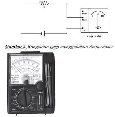 seri ampermeter dengan lampu