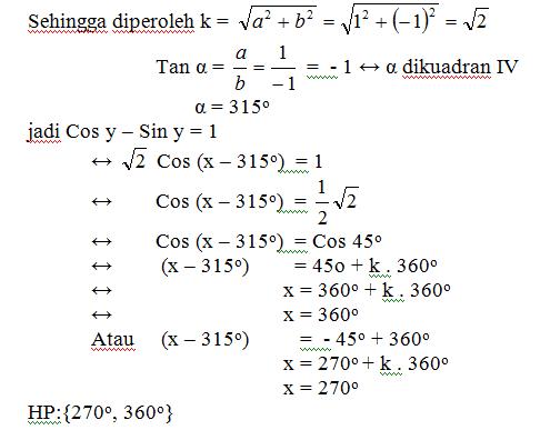 Cos y – Sin y = 1