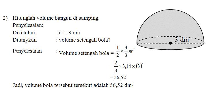 Penyelesaian volume bola