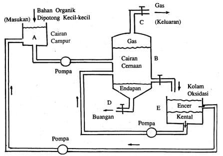 Skema Proses Fermentasi Anaerobik untuk Membuat Metan