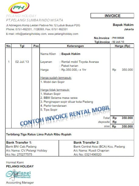 11 Contoh Invoice Jasa Tagihan Hotel Travel Tours
