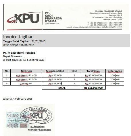 Contoh Invoice Tagihan Alat Berat