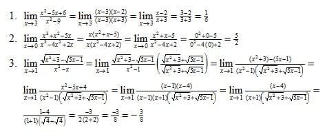 Contoh Bentuk Limit Fungsi Aljabar