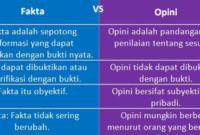 tabel perbedaan fakta dan opini